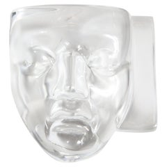Modernist Translucent and Frosted Glass Masks Paperweight Signed by Daum France