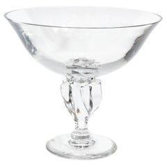 Modernist Translucent Crystal Braided Center Bowl Signed by Sevres