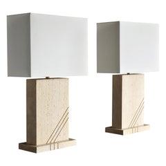 Modernist Travertine Lamps, circa 1980