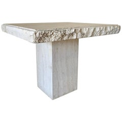 Modernist Travertine Side Table