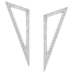 Modernist Triangular Diamond Earrings