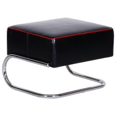Modernist Tubular Stool, Black Leather, Chrome-Plated Steel, Slezák, 1930s