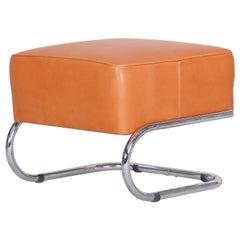 Modernist Tubular Stool, Orange Leather, Chrome-Plated Steel, Slezák, 1930s