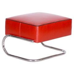 Modernist Tubular Stool, Red Leather, Chrome-Plated Steel, Slezák, 1930s