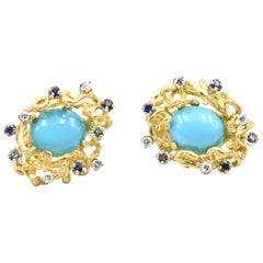 Modernist Turquoise, Sapphire, Diamond and Topaz Gold Earrings
