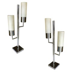 Modernist Twin Cylinder Chrome Table Lamp
