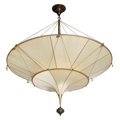 Modernist Two Tier Silk Chandelier w/ Oil Rubbed Bronze Fittings Signed Fortuny
