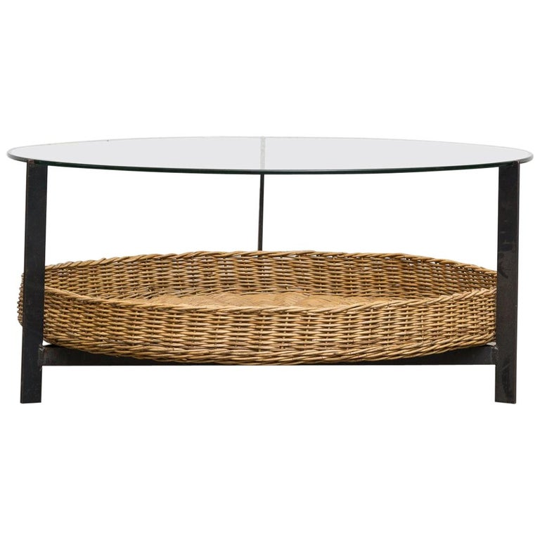 Modernist Two Tiered Round Coffee Table With Rattan Basket For