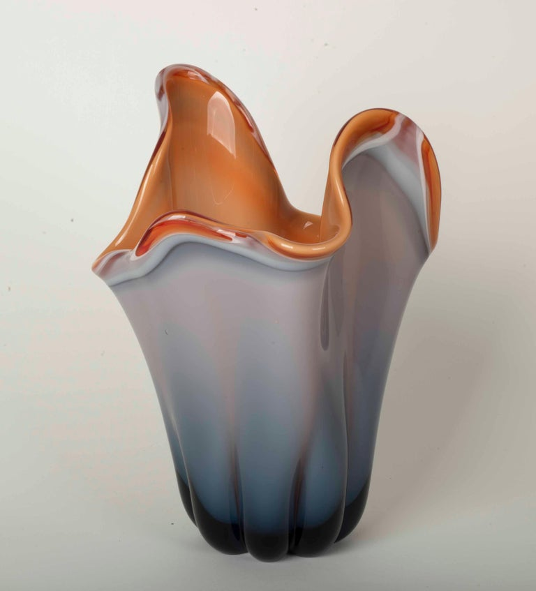 European Modernist Vase in Molded Glass in a Gradient of Grey, Blue and Orange For Sale
