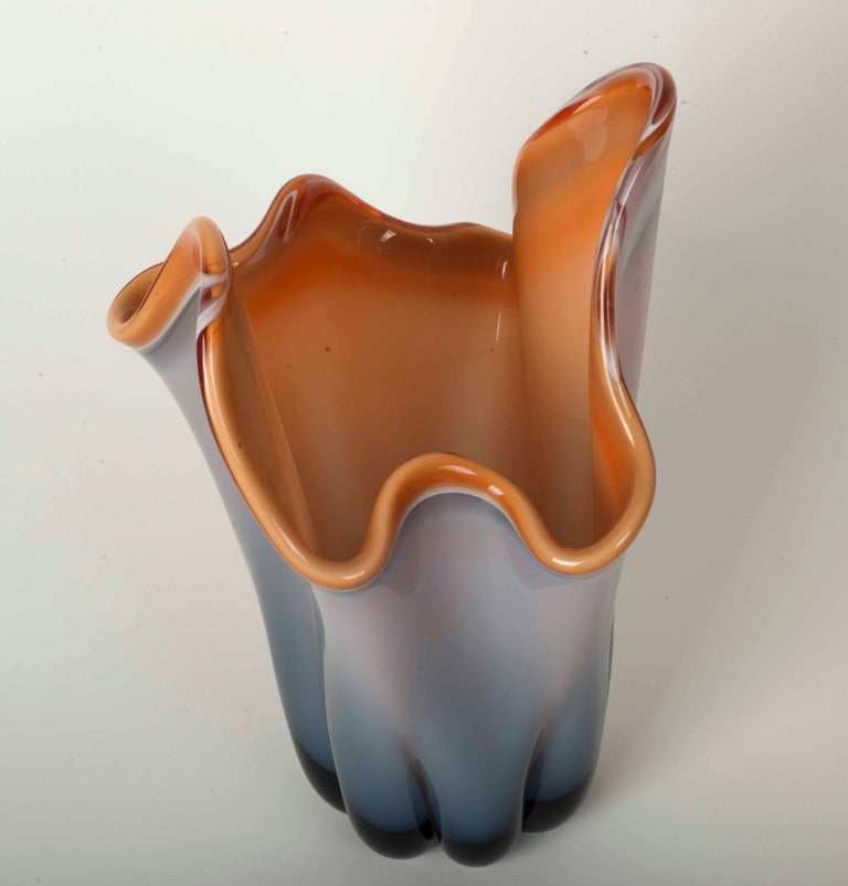 Modernist Vase in Molded Glass in a Gradient of Grey, Blue and Orange In Good Condition For Sale In Lisbon, IT