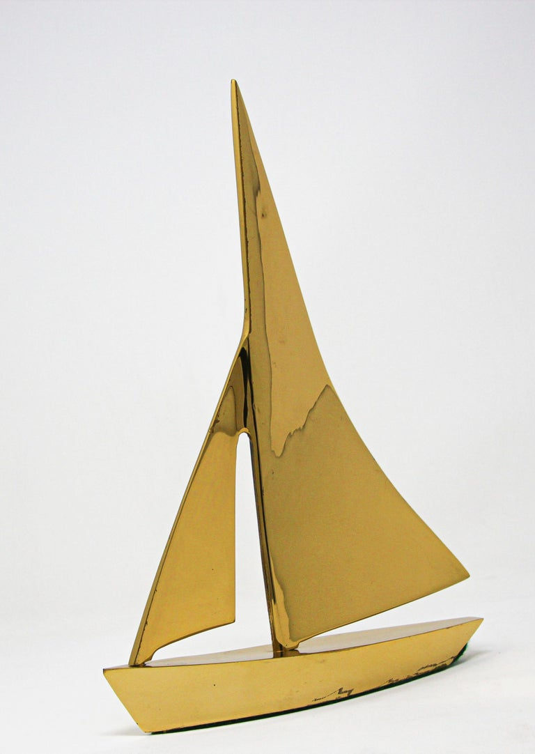 Modernist Vintage Cast Brass Sailboat Paperweight Sculpture For Sale 5