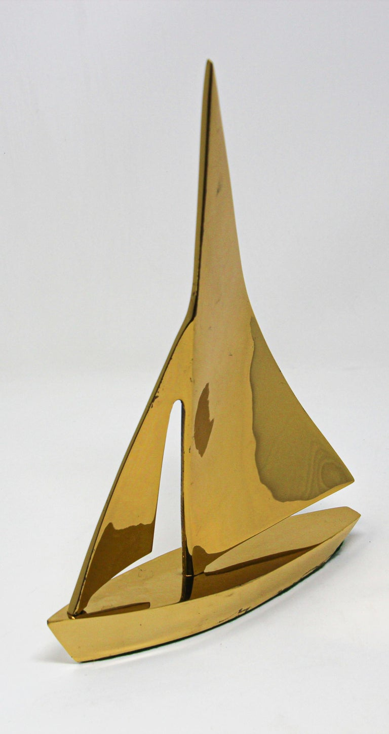 Modernist Vintage Cast Brass Sailboat Paperweight Sculpture For Sale 6
