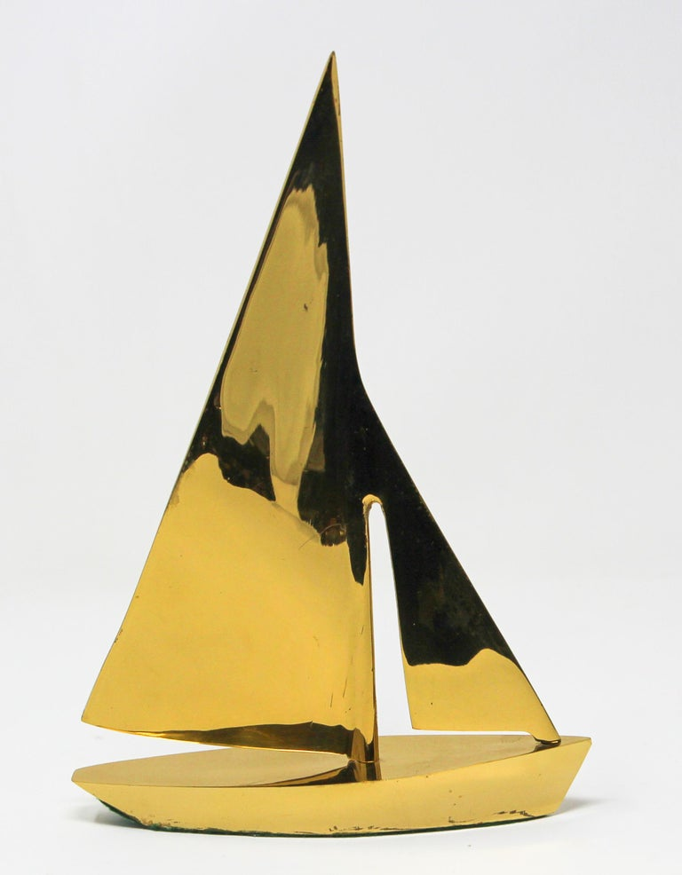 Modernist Vintage Cast Brass Sailboat Paperweight Sculpture For Sale 9