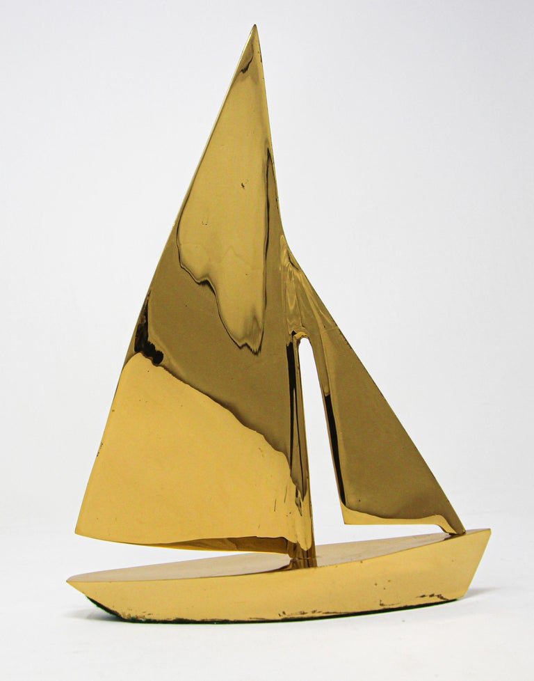 20th Century Modernist Vintage Cast Brass Sailboat Paperweight Sculpture For Sale