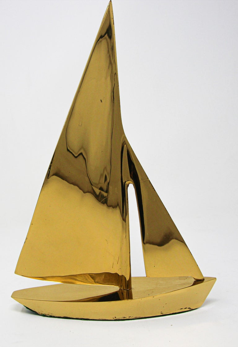 Modernist Vintage Cast Brass Sailboat Paperweight Sculpture For Sale 1