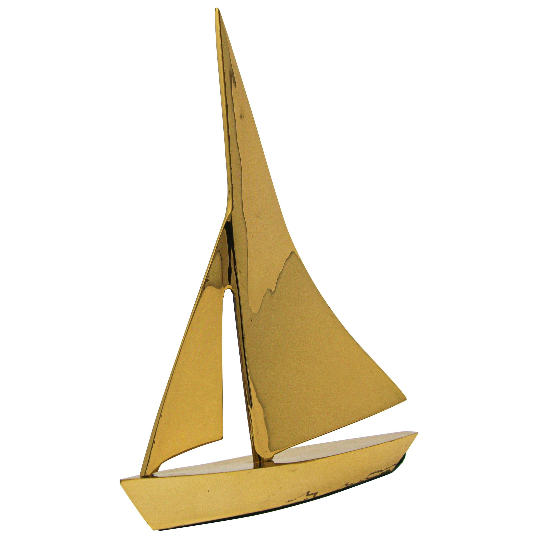 Modernist Vintage Cast Brass Sailboat Paperweight Sculpture
