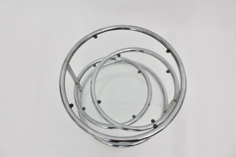 Late 20th Century Modernist Vintage Chromed Glass Swiveling Coffee Table, circa 1970 For Sale