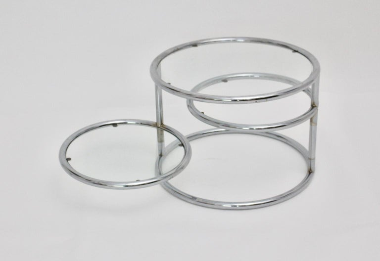 Metal Modernist Vintage Chromed Glass Swiveling Coffee Table, circa 1970 For Sale