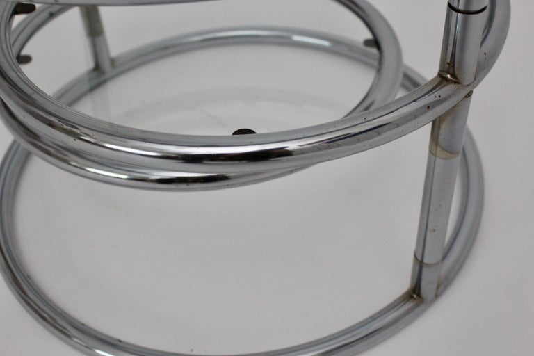 Modernist Vintage Chromed Glass Swiveling Coffee Table, circa 1970 For Sale 3