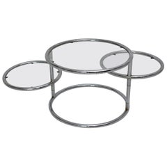 Modernist Vintage Chromed Glass Swiveling Coffee Table, circa 1970