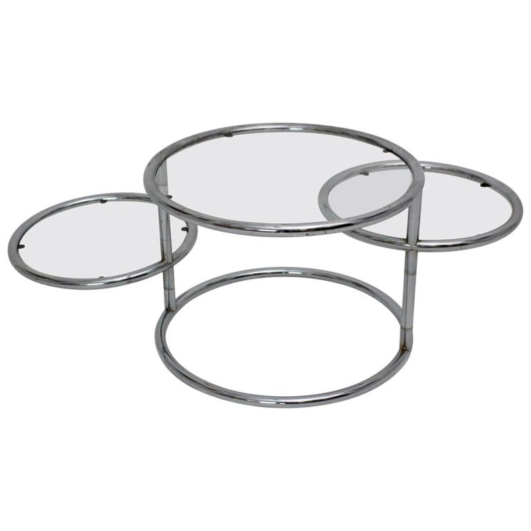 Modernist Vintage Chromed Glass Swiveling Coffee Table, circa 1970 For Sale