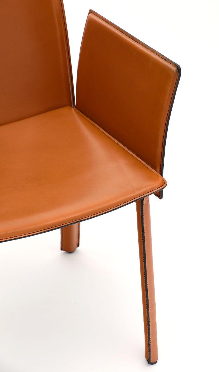 Italian Modernist Vintage Orange Leather Armchairs For Sale