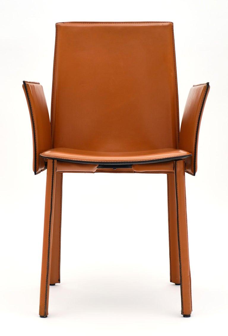 Modernist Vintage Orange Leather Armchairs For Sale 1