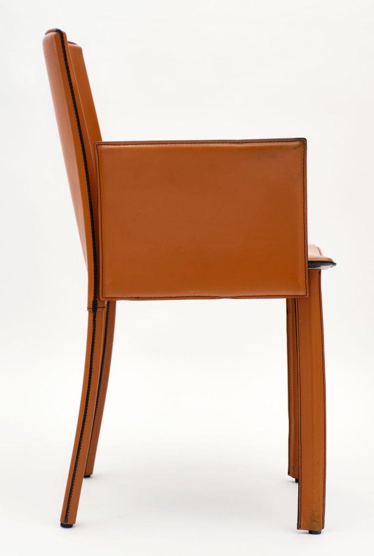Modernist Vintage Orange Leather Armchairs For Sale 2