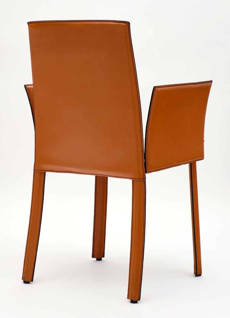Modernist Vintage Orange Leather Armchairs For Sale 3