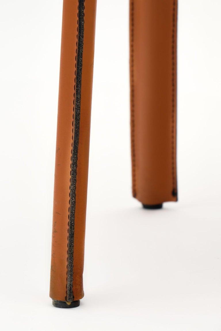 Modernist Vintage Orange Leather Armchairs For Sale 4
