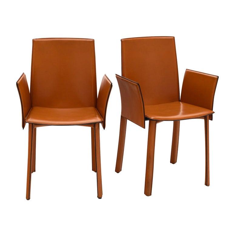 Modernist Vintage Orange Leather Armchairs For Sale