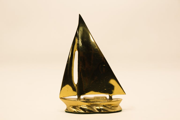 Cast Modernist Vintage Polished Brass Sailboat Paperweight For Sale