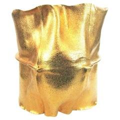 Modernist Vintage Striking Wide Gilded Brass Cuff Bracelet Estate Fine Jewelry