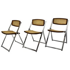 Modernist Vintage Three Chromed Beech Mesh Dining Chairs or Chairs, 1970, Italy