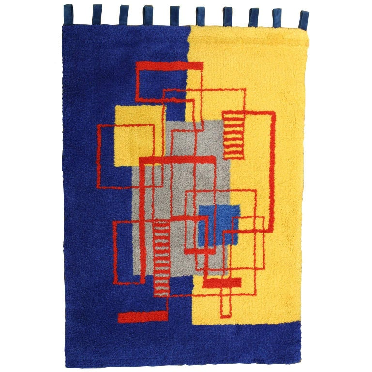 Modernist Wall Rug, Hand-Hooked, after Mallet-Stevens