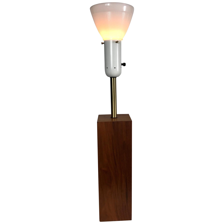 Modernist Walnut and Brass Table Lamp by Walter Von Nessen