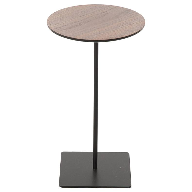 Modernist Walnut Top Cocktail Table with Steel Base