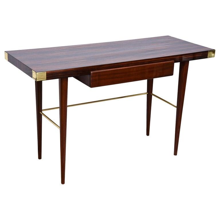 Modernist Walter Charak Macassar Ebony, Mahogany and Brass Desk Midcentury For Sale