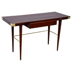 Modernist Walter Charak Macassar Ebony, Mahogany and Brass Desk Midcentury