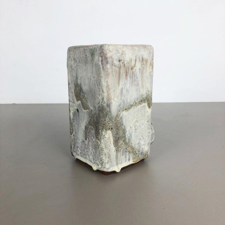 20th Century Modernist West German Ceramic Studio Vase Object by Helmut Schäffenacker, 1960s For Sale
