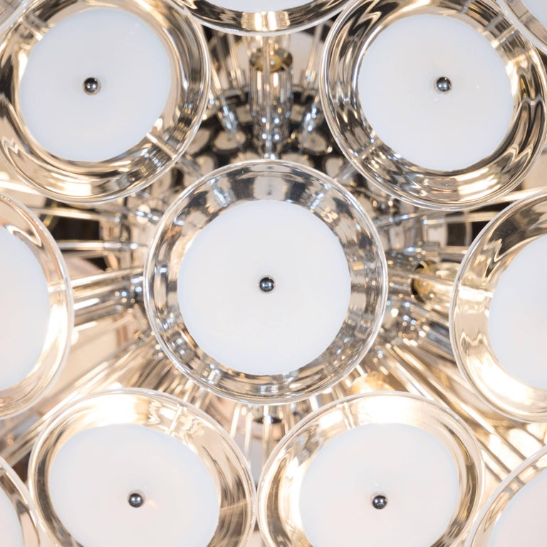 Italian Modernist White and Clear Disc Murano Chandelier with Polished Nickel Frame For Sale
