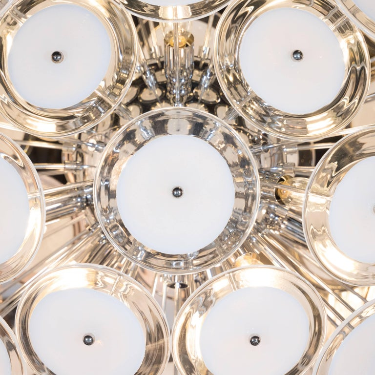 Modernist White and Clear Disc Murano Chandelier with Polished Nickel Frame In Excellent Condition For Sale In New York, NY