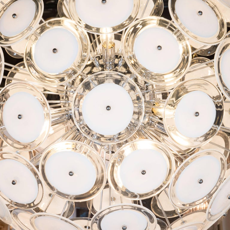 Contemporary Modernist White and Clear Disc Murano Chandelier with Polished Nickel Frame For Sale