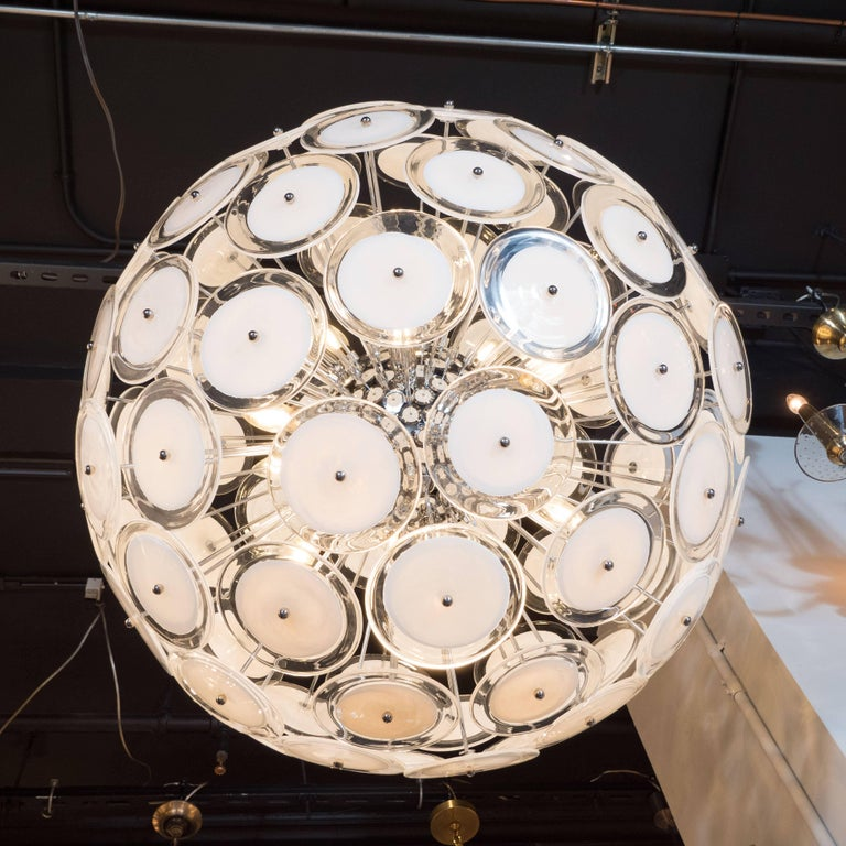 Murano Glass Modernist White and Clear Disc Murano Chandelier with Polished Nickel Frame For Sale