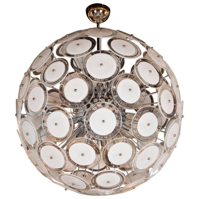 Modernist White and Clear Disc Murano Chandelier with Polished Nickel Frame For Sale