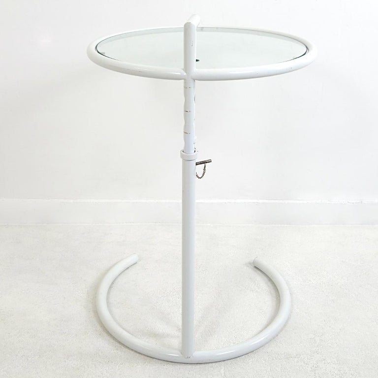 Art Deco Modernist White Steel Tubular Side Table E1027 by Eileen Gray for Classicon For Sale