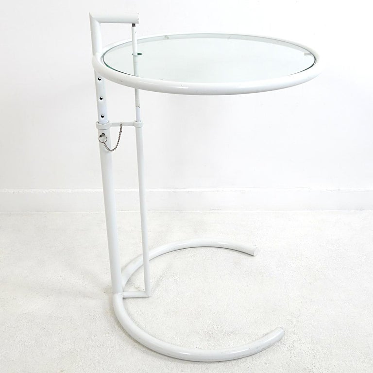 Irish Modernist White Steel Tubular Side Table E1027 by Eileen Gray for Classicon For Sale