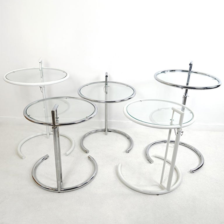 Modernist White Steel Tubular Side Table E1027 by Eileen Gray for Classicon For Sale 1