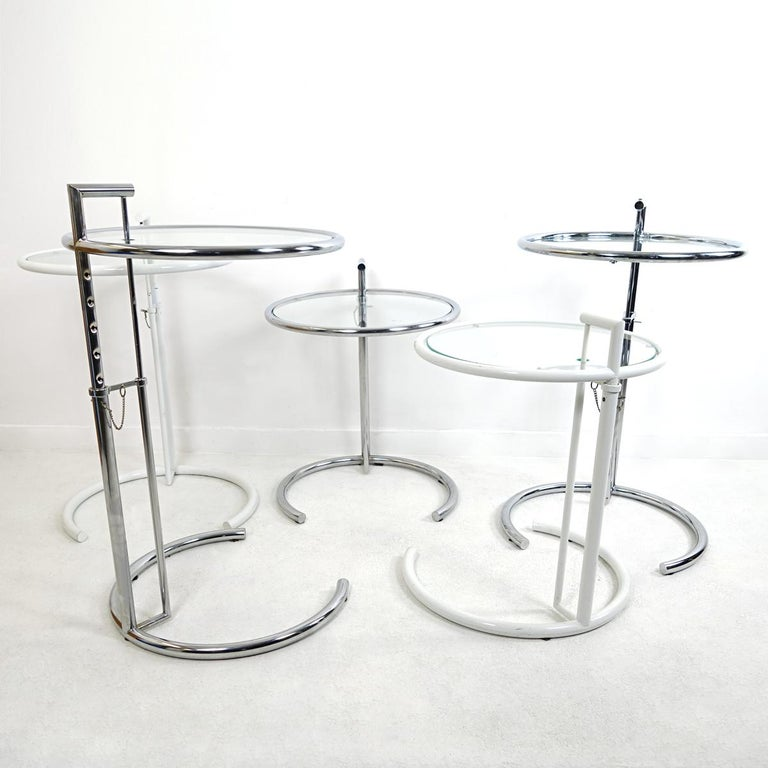 Modernist White Steel Tubular Side Table E1027 by Eileen Gray for Classicon For Sale 2