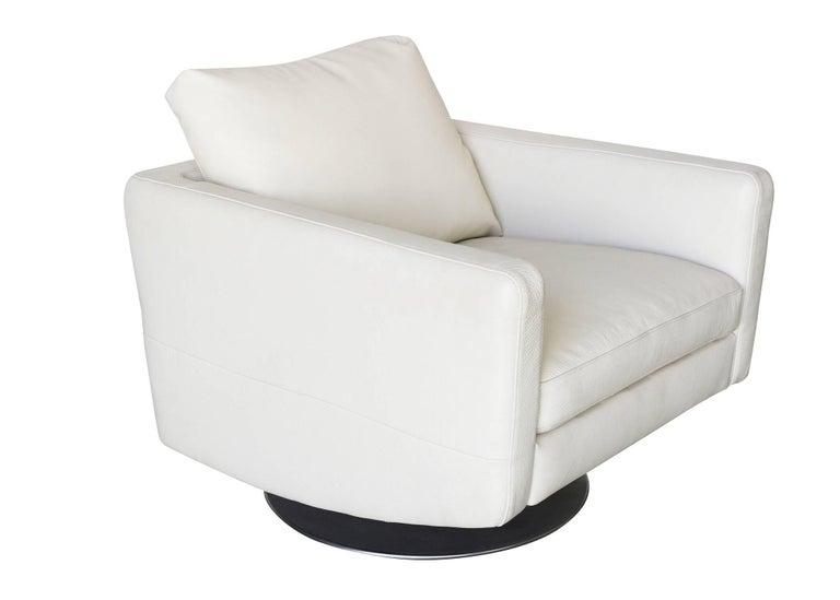 American Modernist White Swivel Lounge Chair with Brush Steel Base For Sale